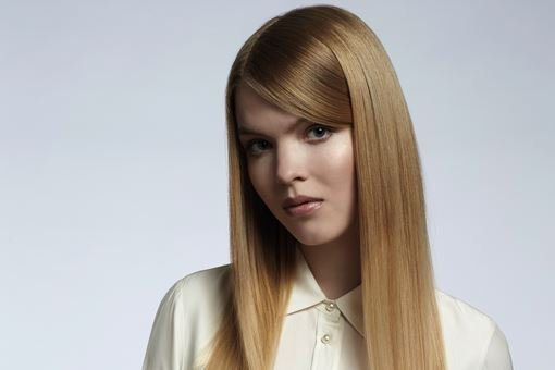 Woman with beautiful straight hair