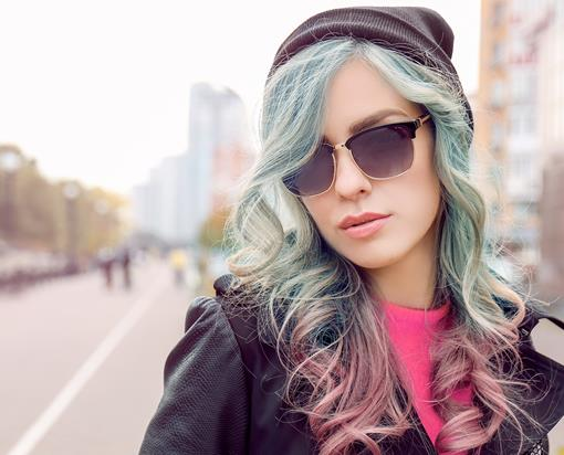 Ombre hair with pastel colours